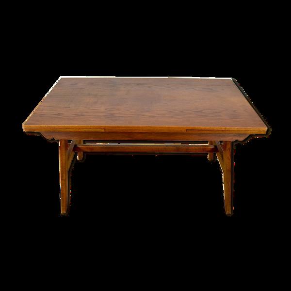 Selency Table de repas en chêne 2 allonges René Gabriel 1950
