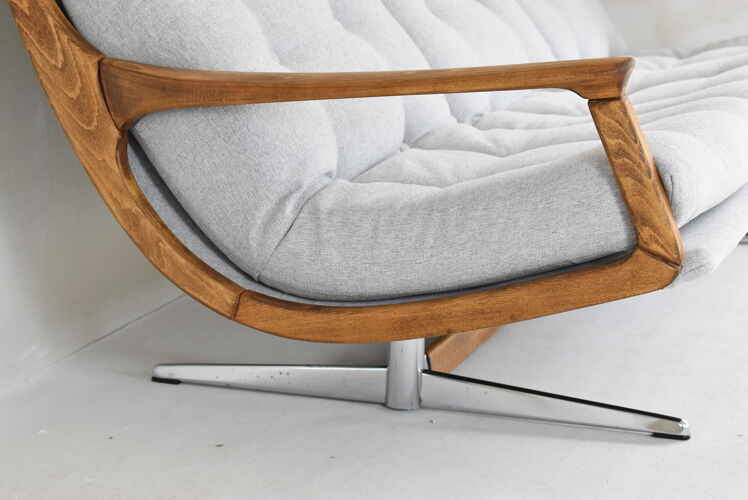 Scandinavian original Sofa, 1960s, vintage, fully restored, light grey fabric