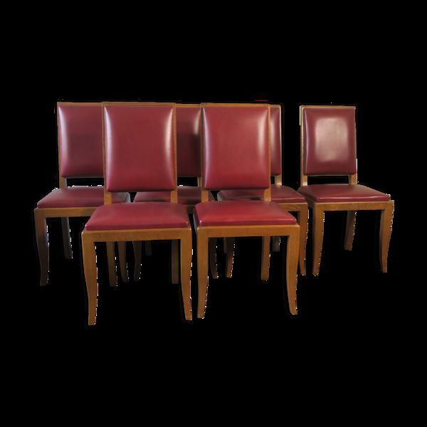 Six chaises à manger en chêne années 1940