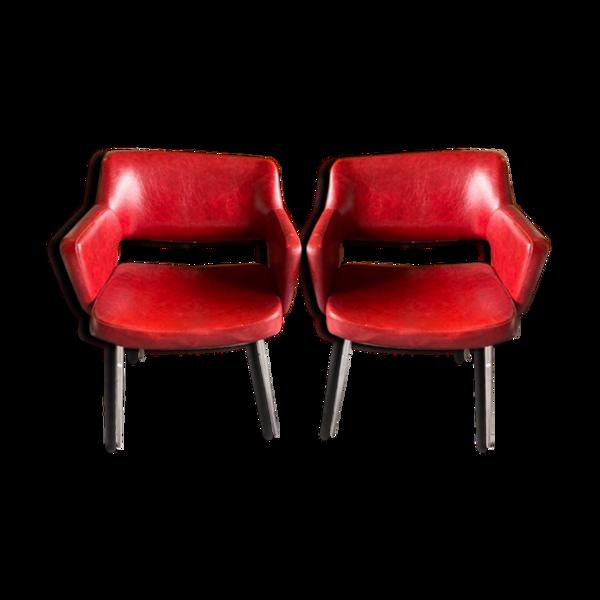 Paire de fauteuils vintage en simili cuir années 60/70