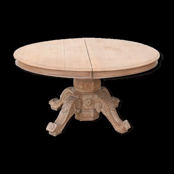 Table ovale en bois de chêne cérusé
