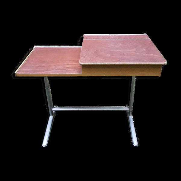 Pupitre bois et aluminium vintage années 70/80