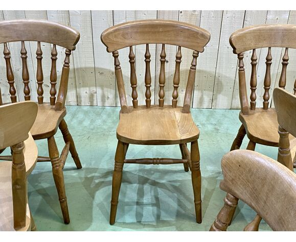 Suite de 4 chaises et 2 fauteuils anglais en hêtre - années 80