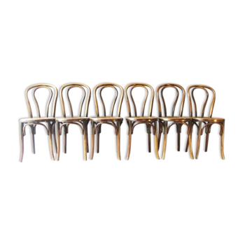 Set de 6 chaises bistrot Fischel 1930 assise bois N°18 1/2