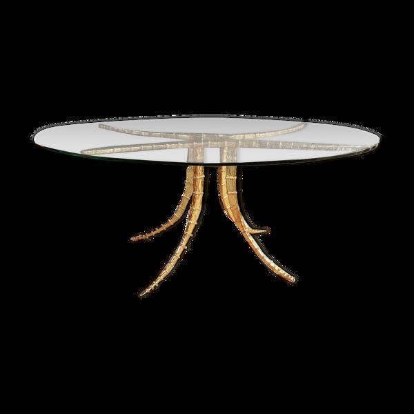 Table design bronze et verre signée Alain Chervet