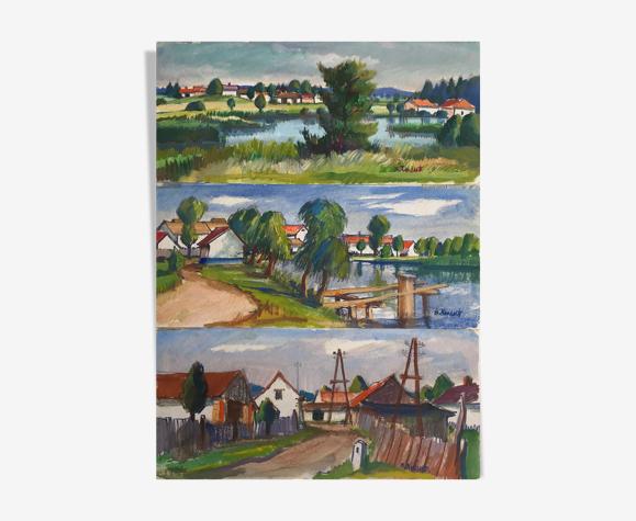 """Ensemble de trois tableaux de Bretislav Kment (né en 1924) """"Paysages"""""""