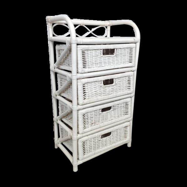 Meuble 4 tiroirs en rotin blanc