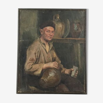 Peinture huile sur toile «Le buveur» XIXeme