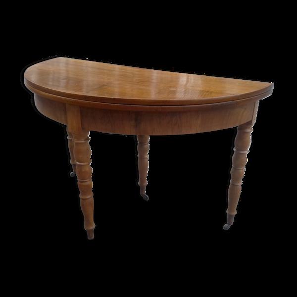 Selency Table-console demi lune en noyer époque 1840 pied Jacob