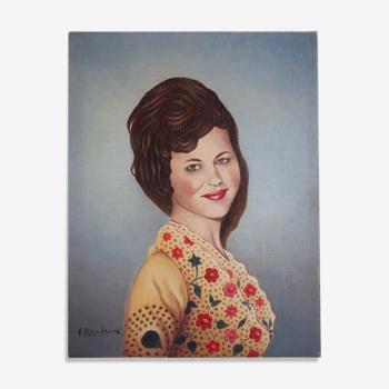 Peinture à huile sur toile femme, peinture signé F. Rambaud