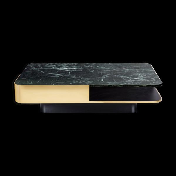Table basse large marbre vert et laiton Red Edition