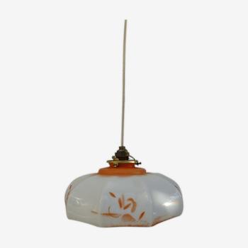 Suspension verre soufflé opaline verre de lait années 1920 orange