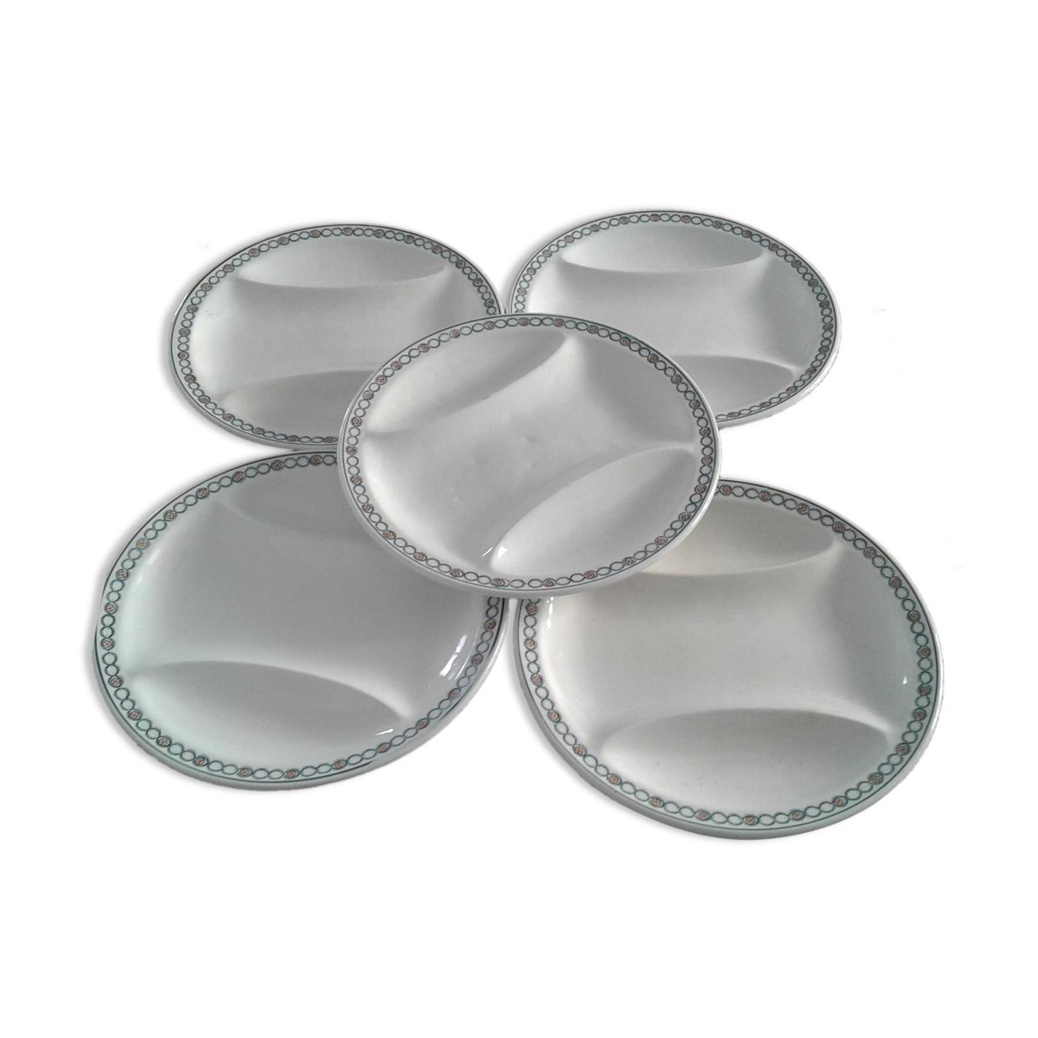 5 assiettes à  asperges, Longwy model printemps