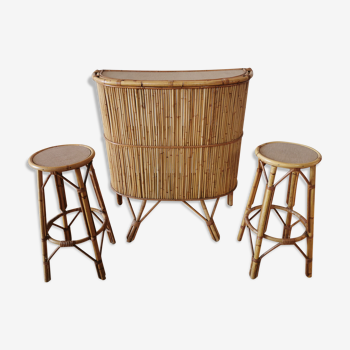 Rattan bar and stools from the 50s/60s