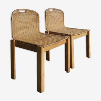 Couples de chaises italiennes de salle à manger d'osier années 60