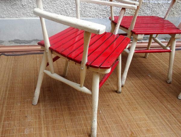 FISCHEL - Salon de jardin en bois des années 30