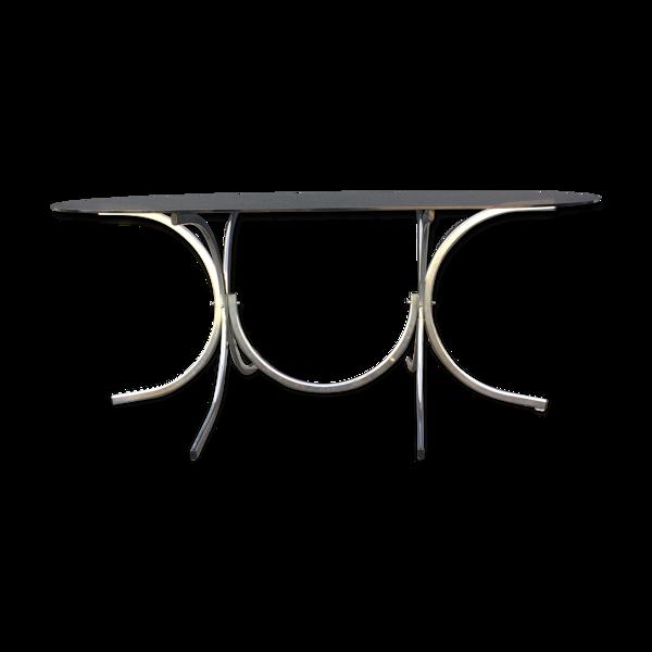 Table plateau verre fumé années 70