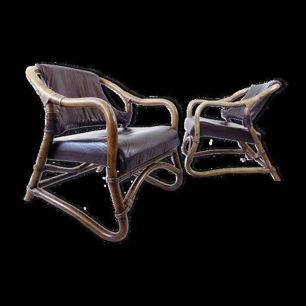 Ensemble de 2 fauteuils modernes en bambou du milieu du siècle danois