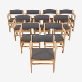 Ensemble de 10 chaises à manger en chêne par Borge Mogensen pour AS Søborg Møbelfabrik Danemark, années 60