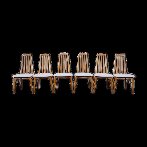 Selency Set de 6 chaises Eva vintage en teck Niels Koefoe Hornslet Midcentury années 60