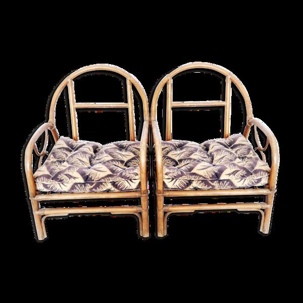 Fauteuils vintage en bambou France