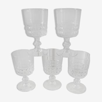 Lot de 5 verres à eau, vin en cristal années 50