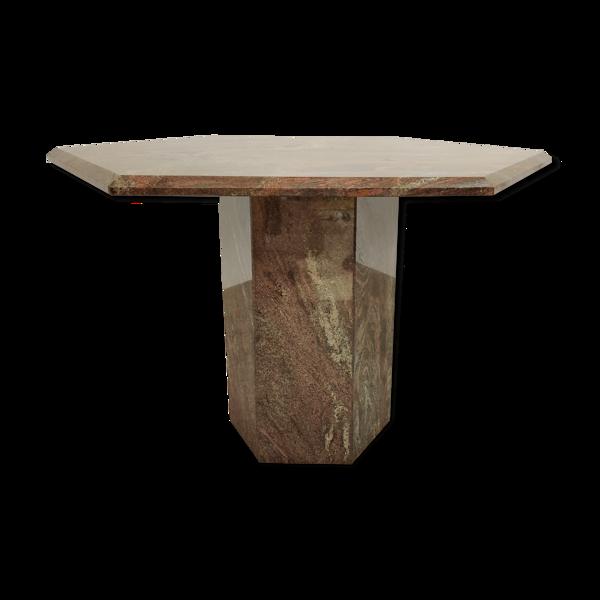 Selency Table centrale hexagonale vintage de granit années 70