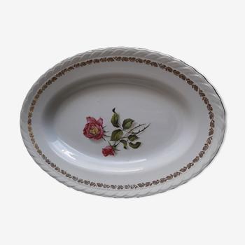 Plat ovale en faïence l'amandinoise 8996 motif roses roses  33 X 23 cm