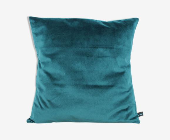 Housse de coussin velours turquoise