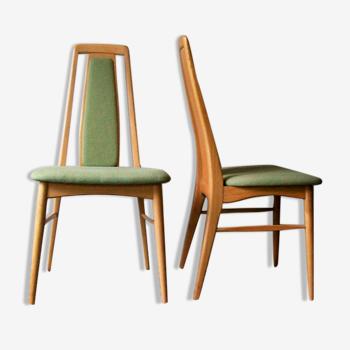 Paire vintage de chaisesà manger «Eva» par Niels Koefoed Danemark années 1960