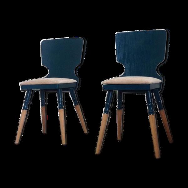 Selency Paire de chaises scandinaves bleu petrole et velours