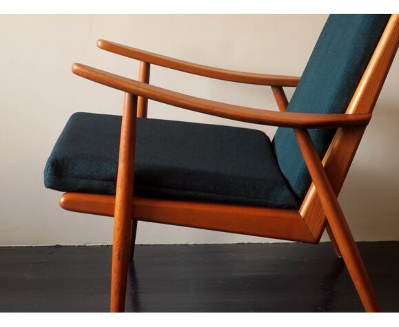 Scandinavian ash lounge chair with sea blue-green covers 1950s