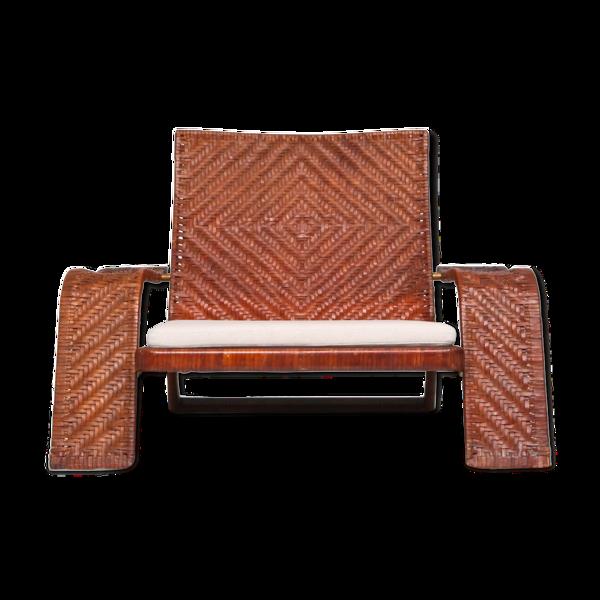 Selency Fauteuil post-moderne en cuir tressé de Marzio Cecchi - années 1970