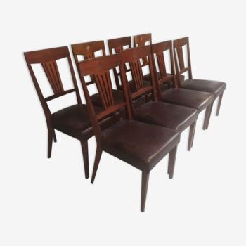 8 chaises bois et cuir