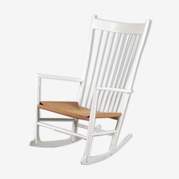 Rocking chair danois de Hans J. Wegner, fabriqué par FDB Mobler au Danemark en 1960.