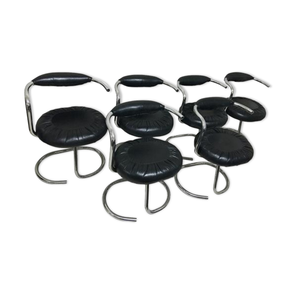 Selency Ensemble de 6 chaises Cobra par Giotto Stoppino Italie 1970s