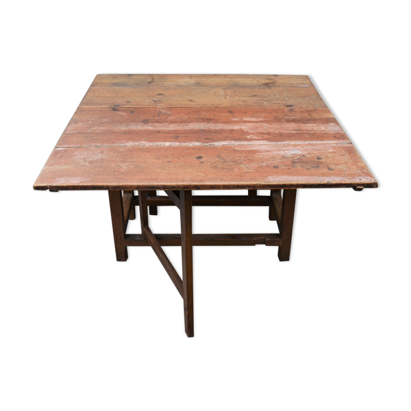 Selency Ancienne table à manger en pin du début du XIXe siècle avec un pied de porte en forme de feuille