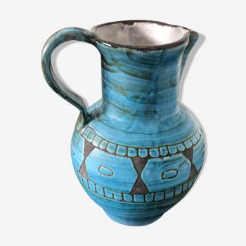 Blue pitcher, geometric pattern