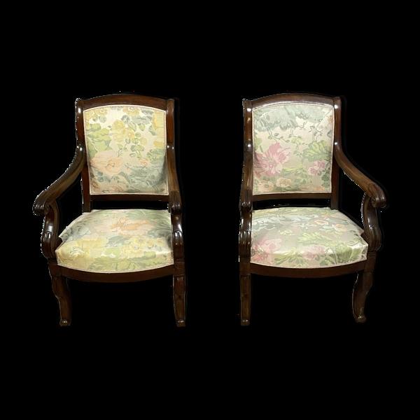 Selency Paire de fauteuils de salon époque restauration en acajou vers 1815