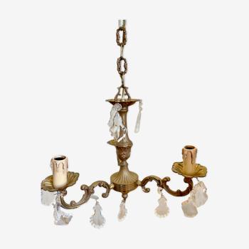 Lustre en bronze style Louis XV et pampilles