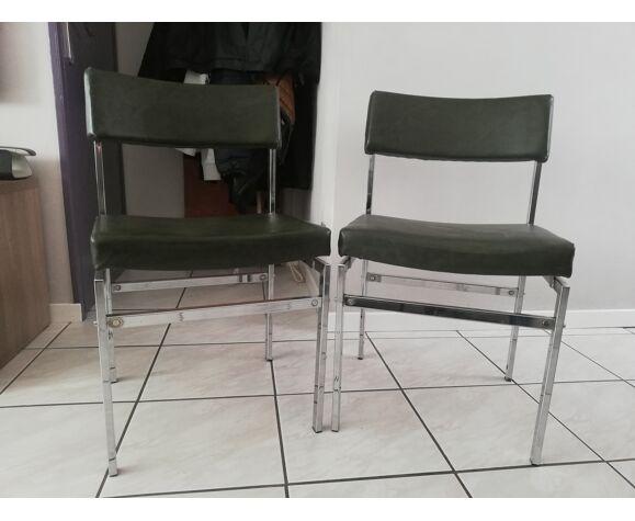Paire de chaises vintage cuir et chrome