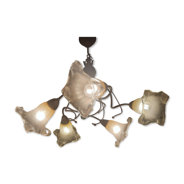 Lustre fer forgé contemporain 5 tulipes blanches