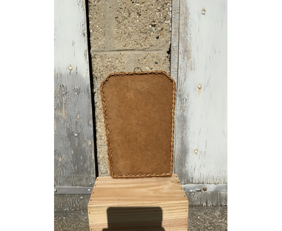 Miroir ancien en rotin et bois forme rétroviseur vintage osier tressé