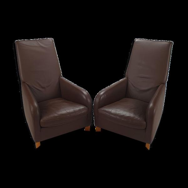 Ensemble de 2 chaises longues en cuir italien de Molinari, années 1990