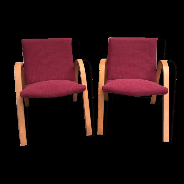 Paire de fauteuils Bow wood edition Steiner vintage