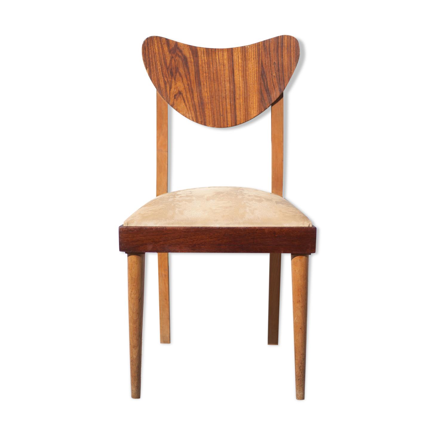 Chaise bois avec assise skaï vintage, chaise d'appoint, chaise vintage, décoration intérieur, chair
