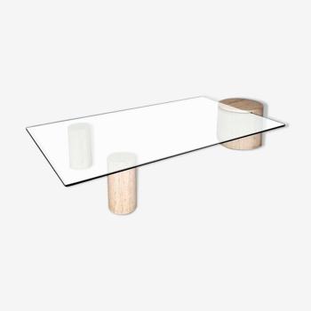 Table basse travertin  et verre des années 70
