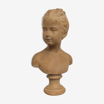 Buste de jeune fille terre cuite époque XIXeme