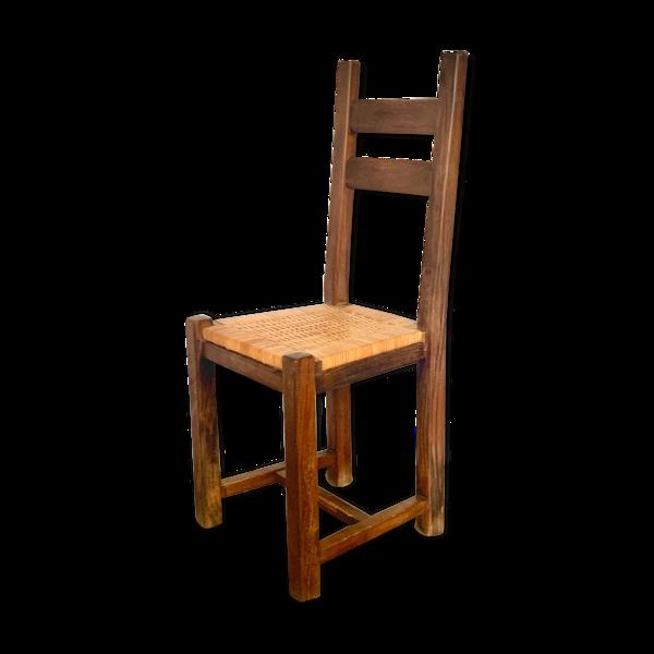 Chaise brutaliste à cannage de rotin