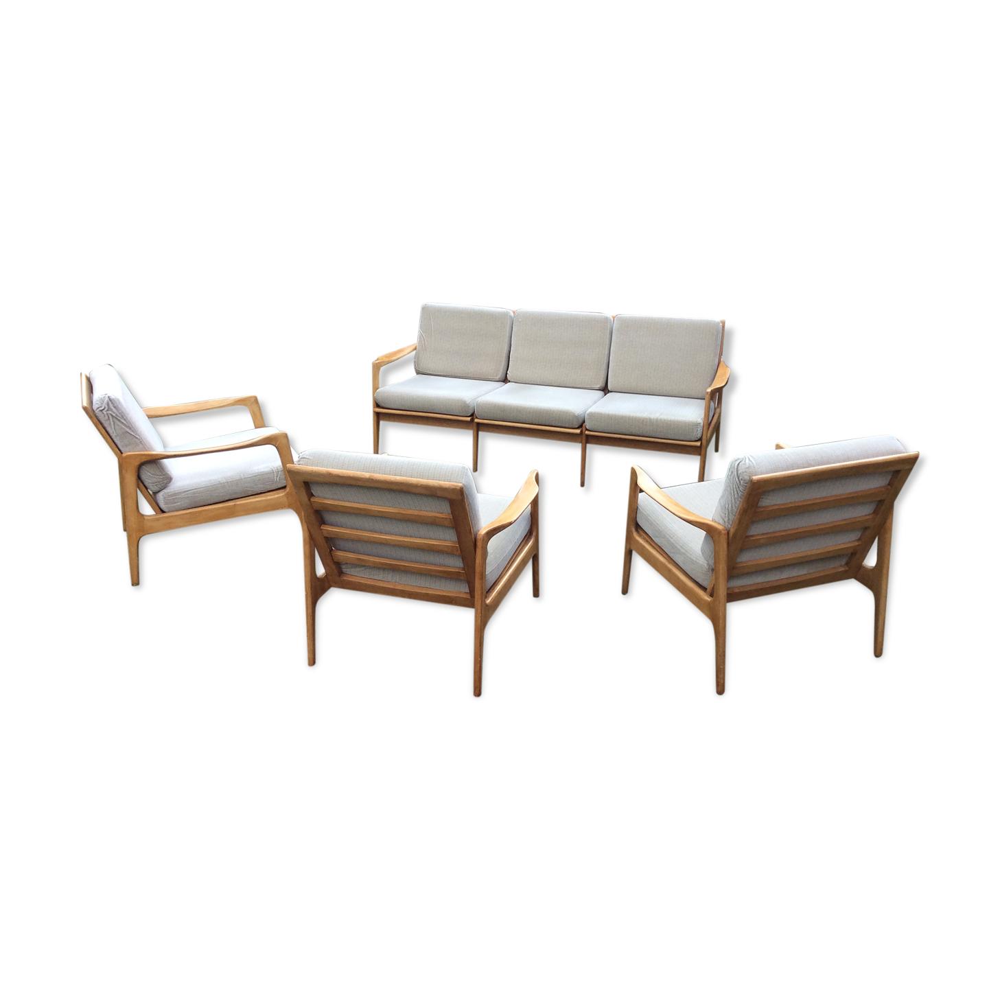 Banquette et fauteuils scandinave vintage de 4 pièces , 1 banquette et 3 fauteuils.